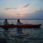 Frank and Lisa on a Sunset kayaking at the Basin