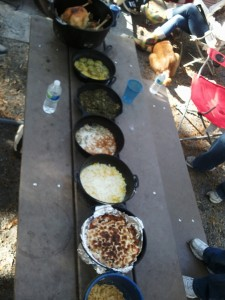 Our Thanksgiving meal all cooked over an open fire